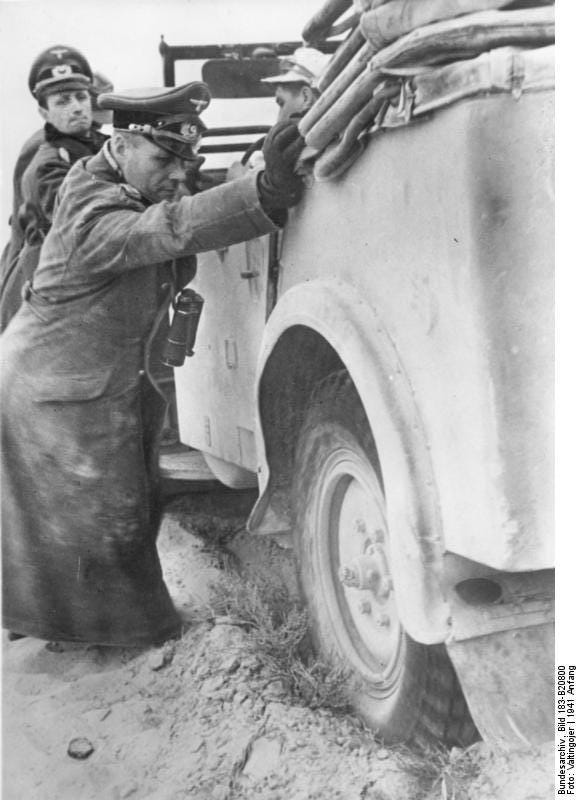 General Erwin Rommel getting to grips with conditions in the desert in early 1941.
