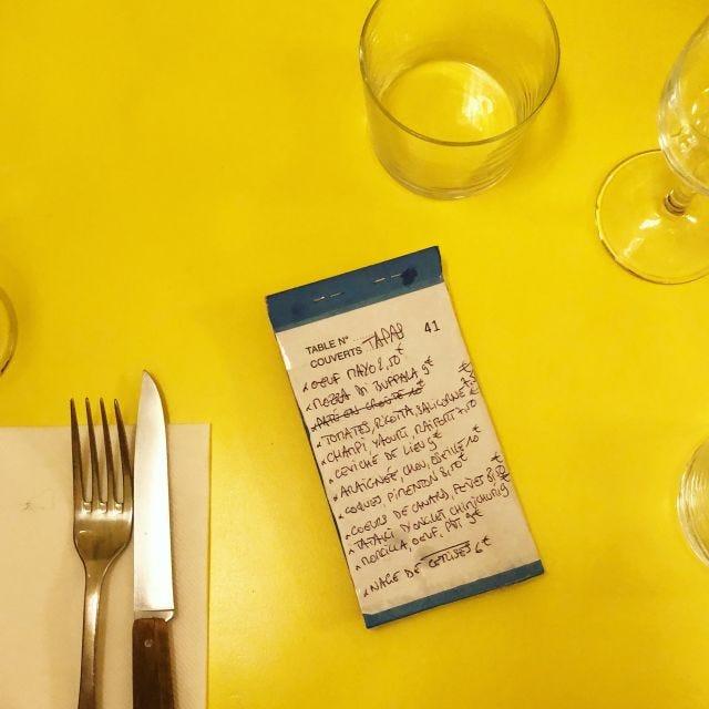 The menu du jour at Aux Deux Amis
