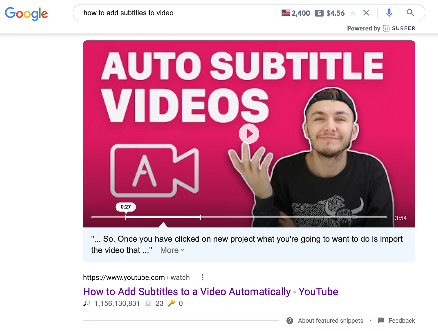 youtube video that ranks in search engine result as the featured video