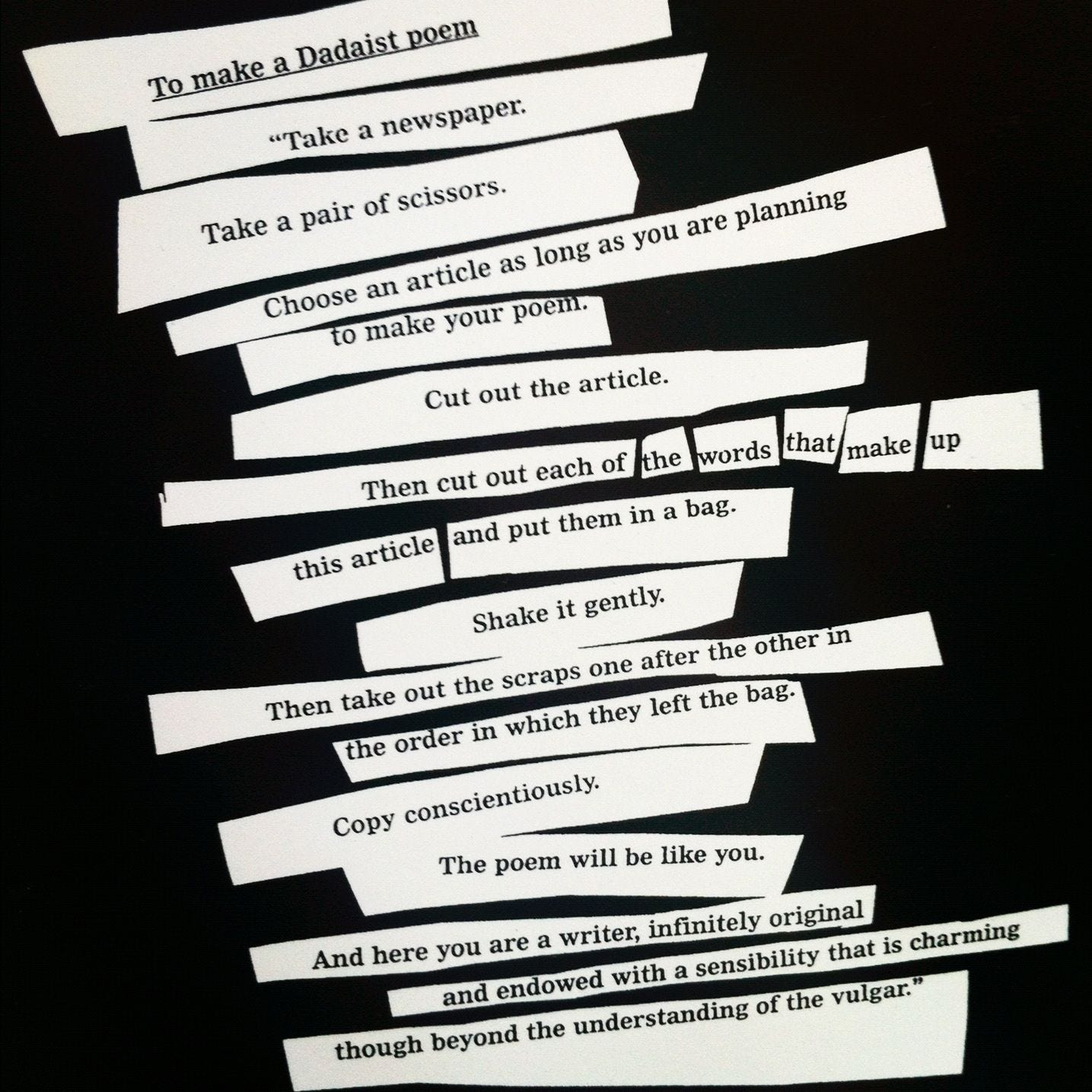 to-make-a-dadaist-poem-by-tristan-tzara.jpg (1435×1435) | Tristan tzara,  Poems, Dada poetry