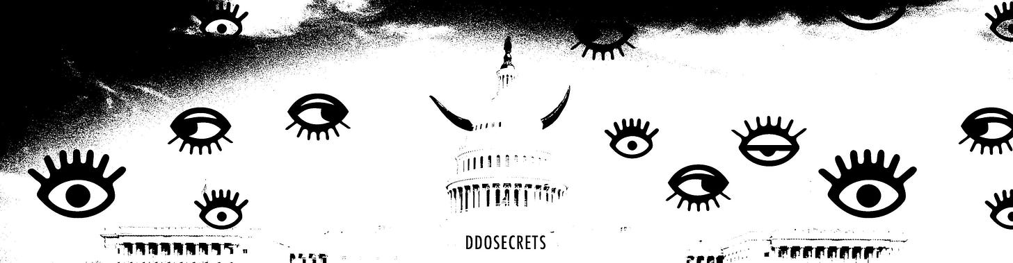 A black and white image of the U.S. Capitol building with devil horns on the central rotunda spire, surrounded by a rainfall of eyeball illustrations. Text reading DDOSECRETS is placed underneath the central portion of the building.