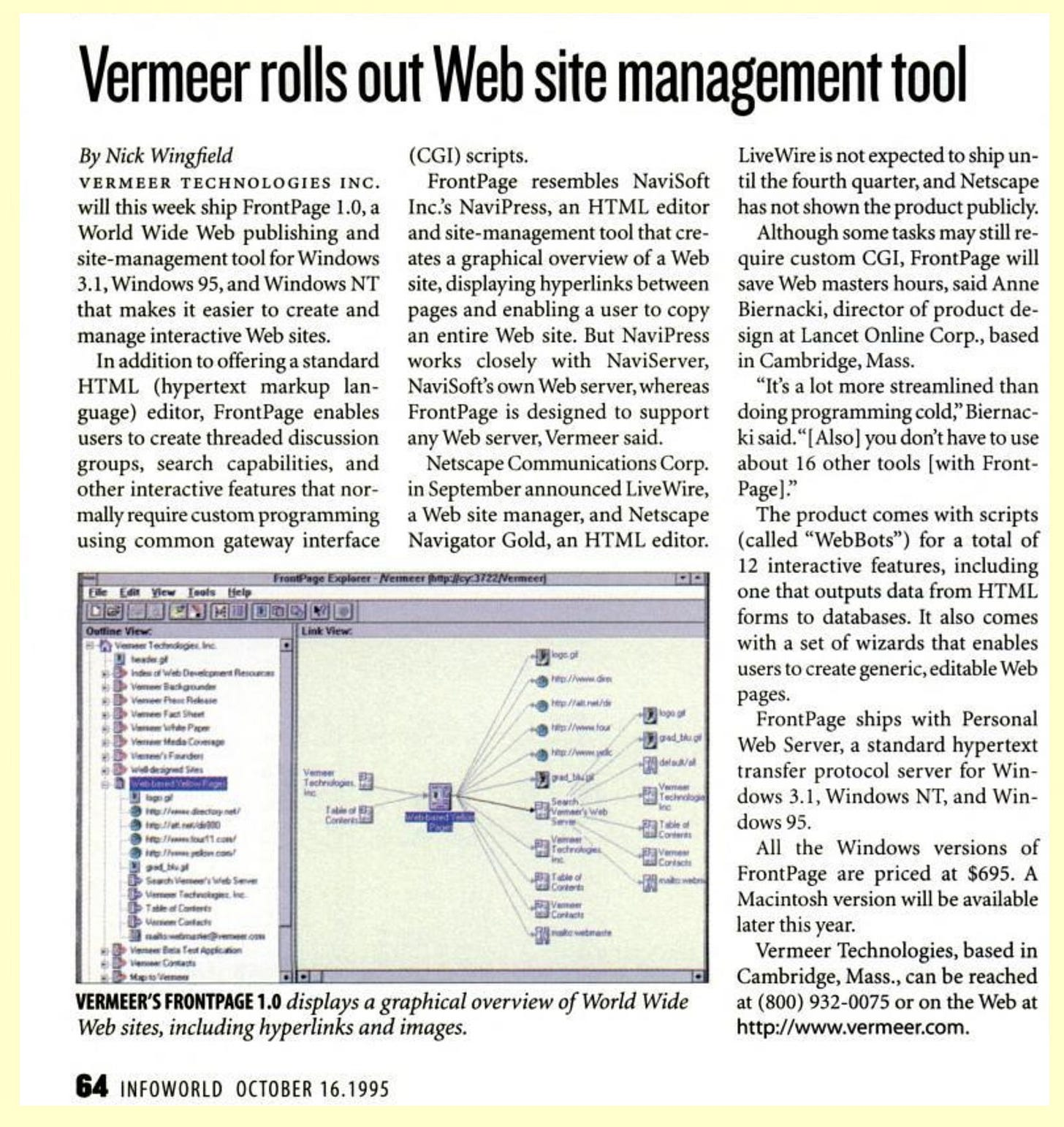 """Scanned story """"Vermeer rolls out Web site management tool"""""""