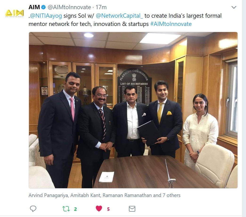 Image may contain: 5 people, including Arnab Kumar, Amitabh Kant and Utkarsh Amitabh, people smiling