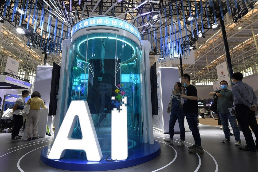 People view exhibits at the fifth World Intelligence Congress, a major artificial intelligence event in China, in Tianjin on May 20. China introduced its first ethical guidelines governing AI last week as it seeks to become the global industry leader by 2030. Photo: Xinhua