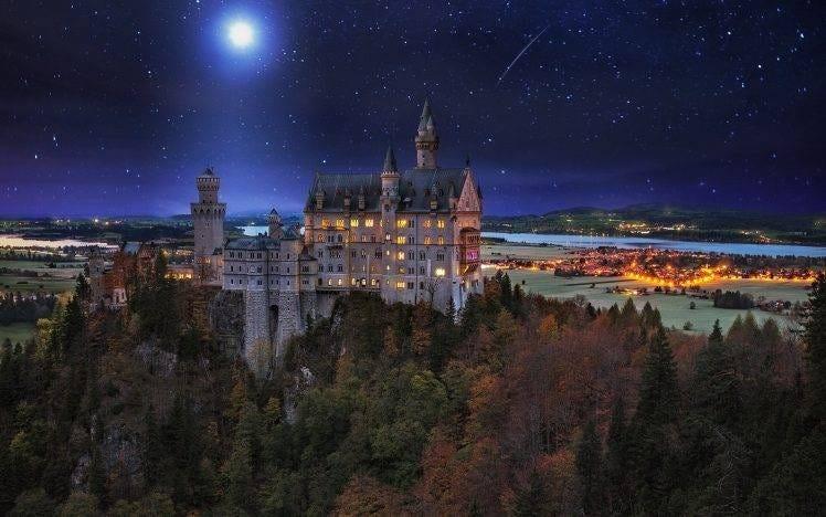 landscape, Nature, Neuschwanstein Castle, Germany, Starry Night, Moon, Valley, Trees, Lights ...