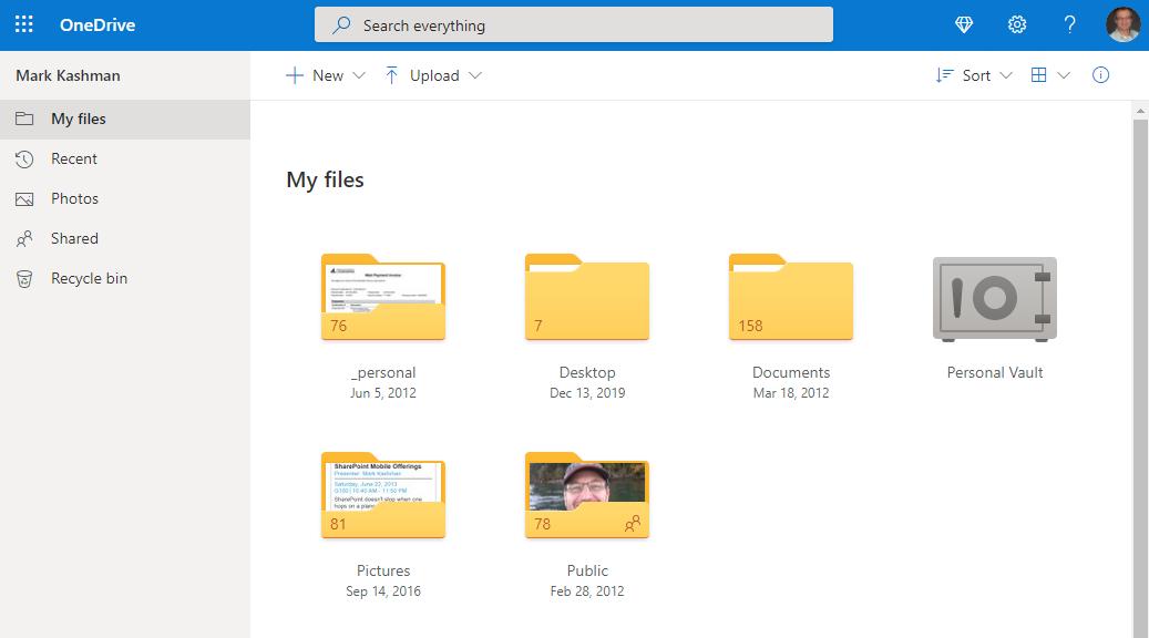 Mark Kashman's OneDrive personal folder - Web view.