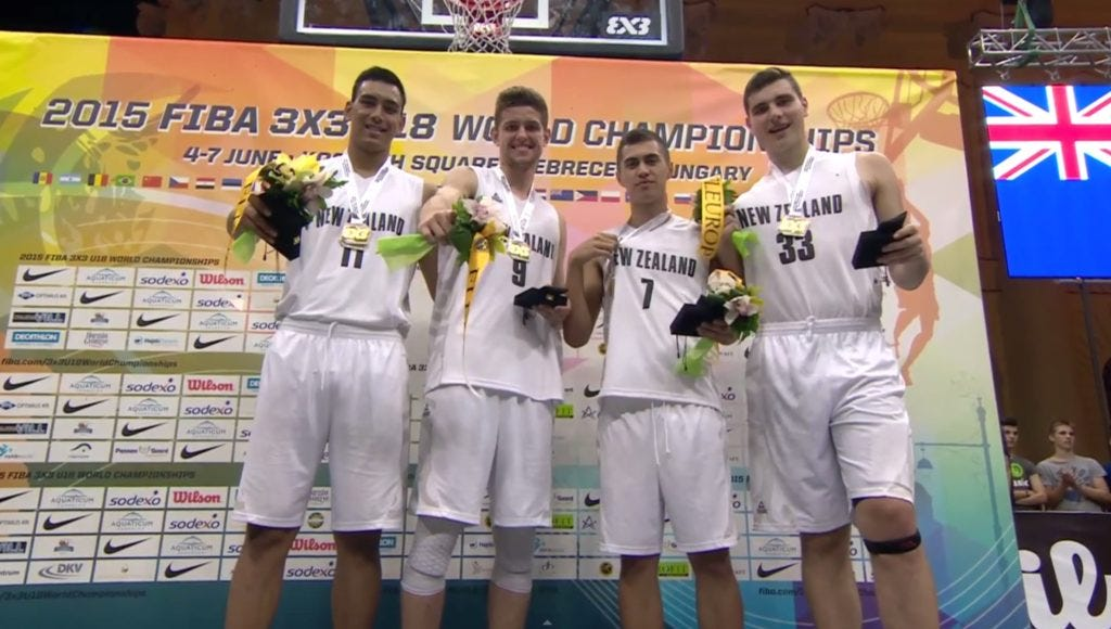 New Zealand's gold medal winning squad (from left to right: Tai Wynyard, Matthew Freeman, Nikau McCullough and Sam Timmins)