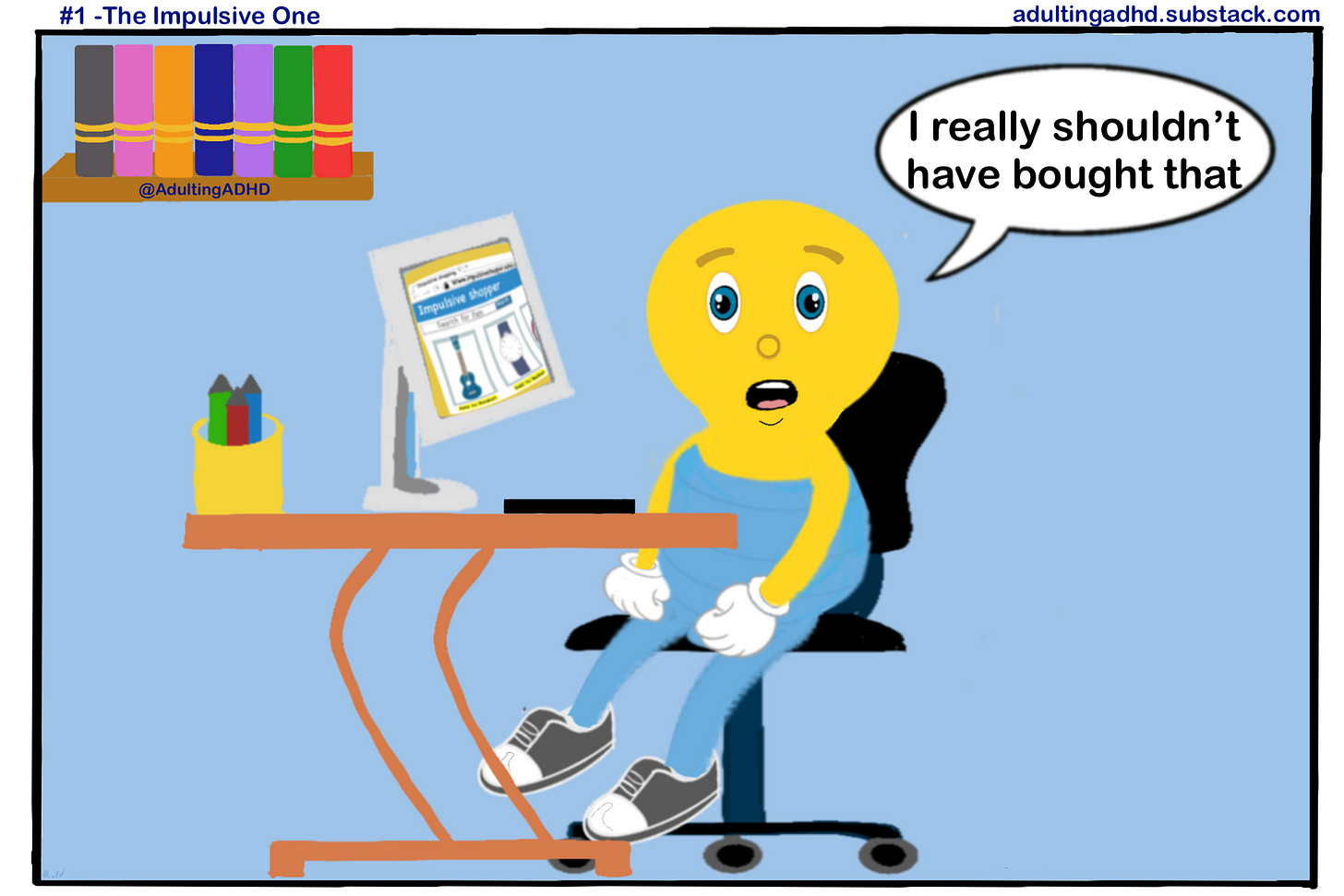 """A character that's looks like a lightbulb with a human body and facial features, sat in a room at a desk that has a computer, a desk and a keyboard on it. There's also a bookshelf with 7 books on it in the room. There is a speech bubble by the character which says """"I really shouldn't have bought that""""."""