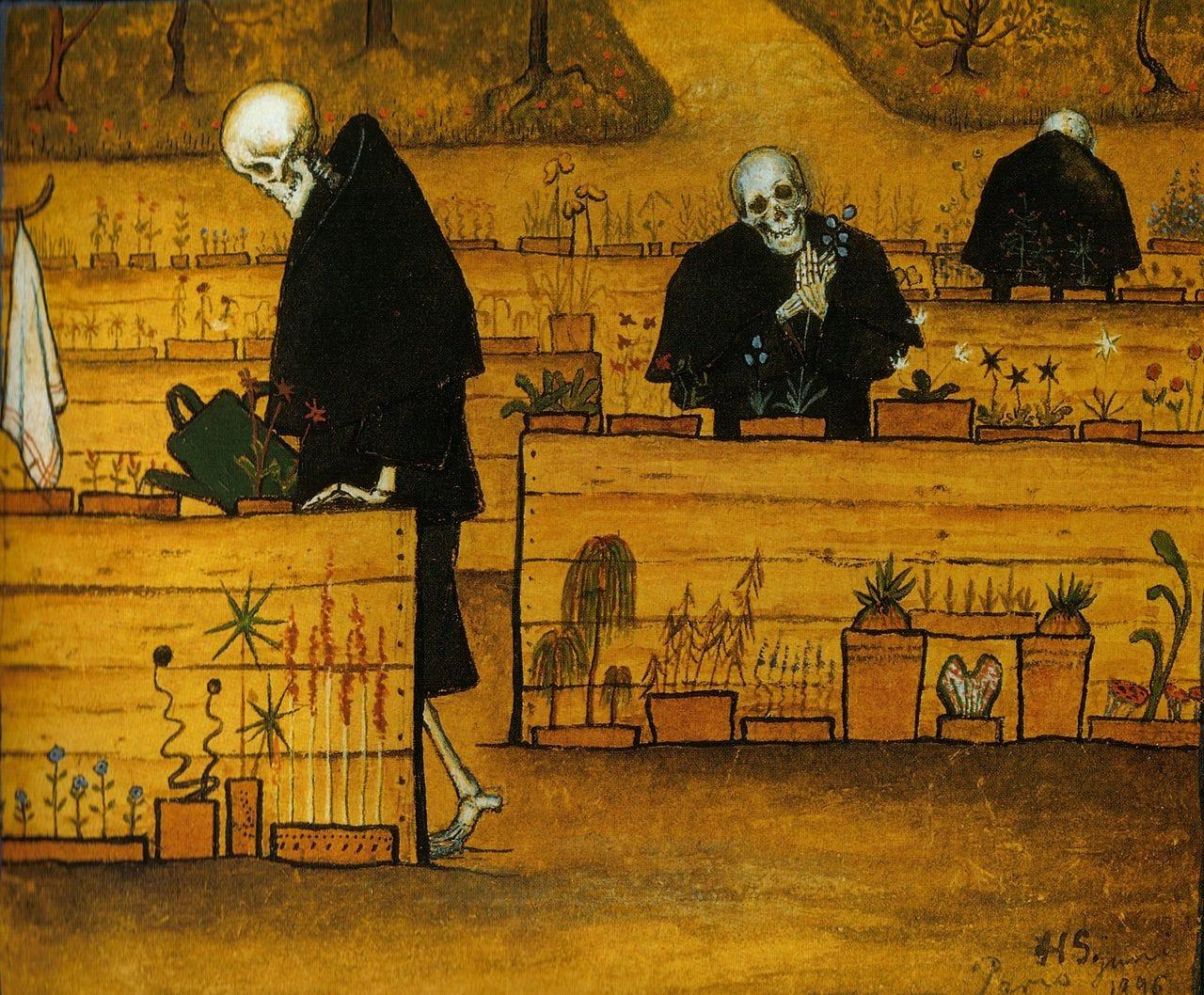 num jardim de caixotes de madeira, a cor amarela predomina a cena, e 3 figuras de esqueletos vestidos com capas pretas regam flores em diferentes níveiis de perspectiva na imagem