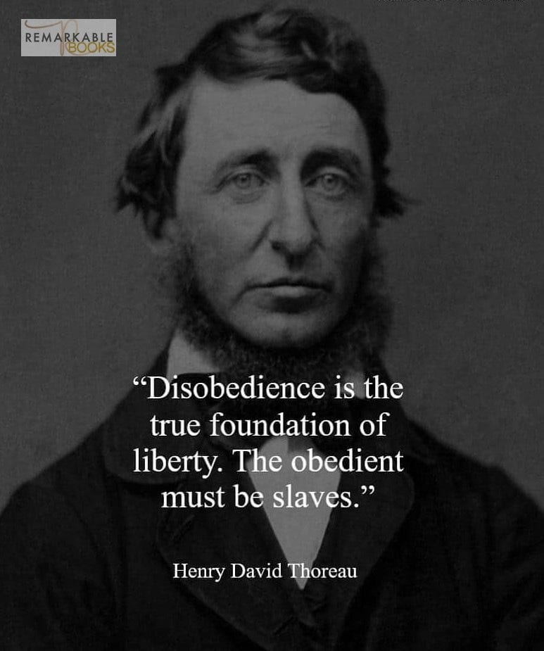 """May be an image of 1 person and text that says 'REMARKAOKE """"Disobedience is the true foundation of liberty. The obedient must be slaves."""" Henry David Thoreau'"""
