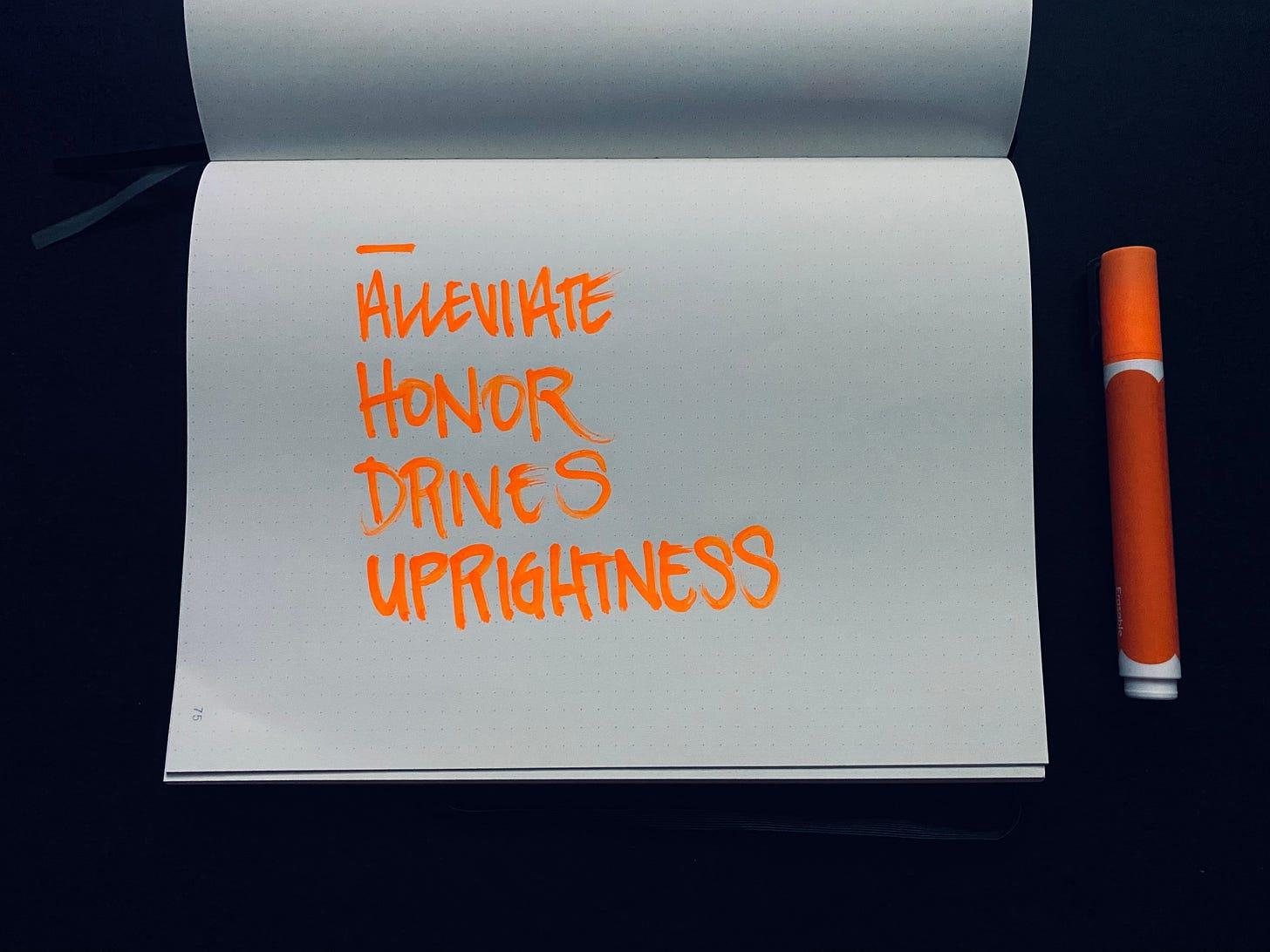Words in a notebook, written in orange paint