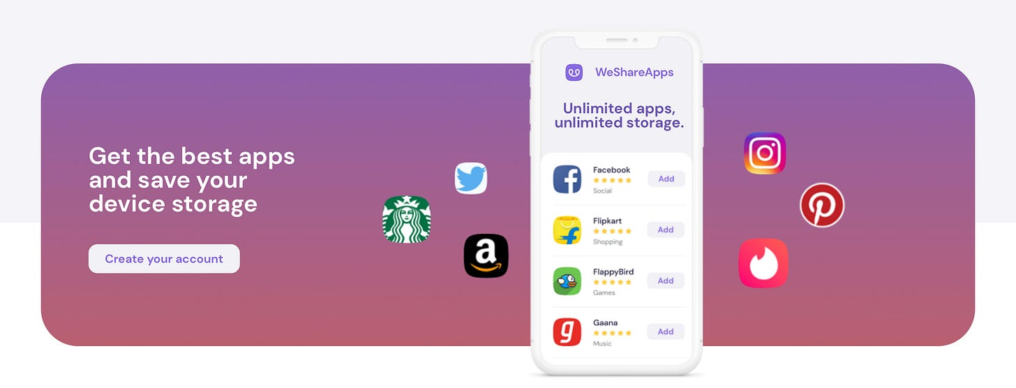WeShareApps provides access to Free Data & more