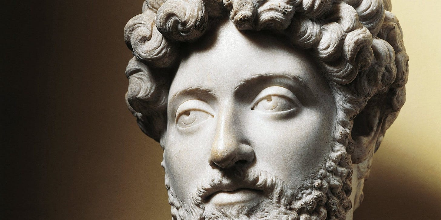 image of a bust of Marcus Aurelius for article by Larry G. Maguire