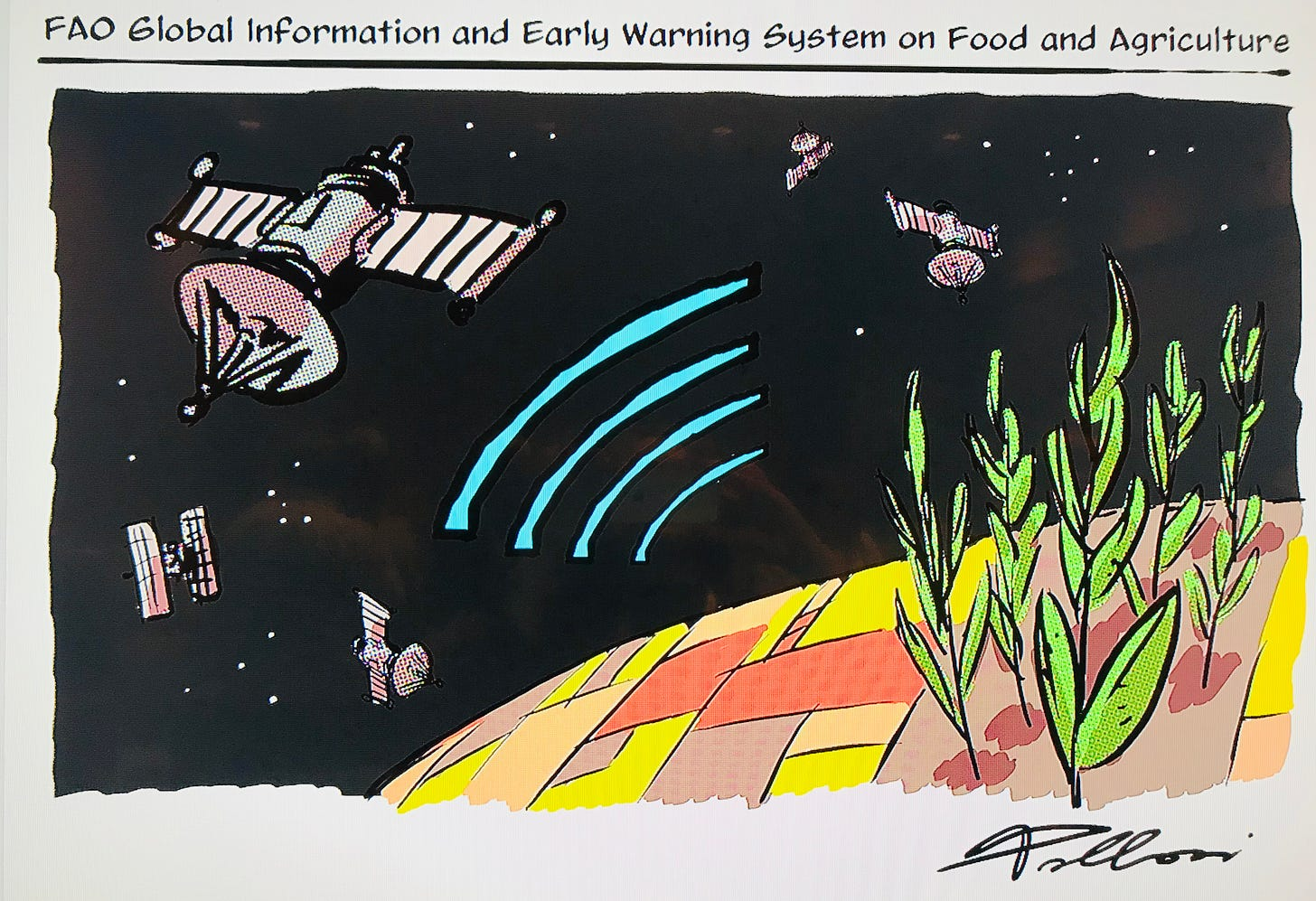 Graphic visualization of satellites monitoring crop conditions