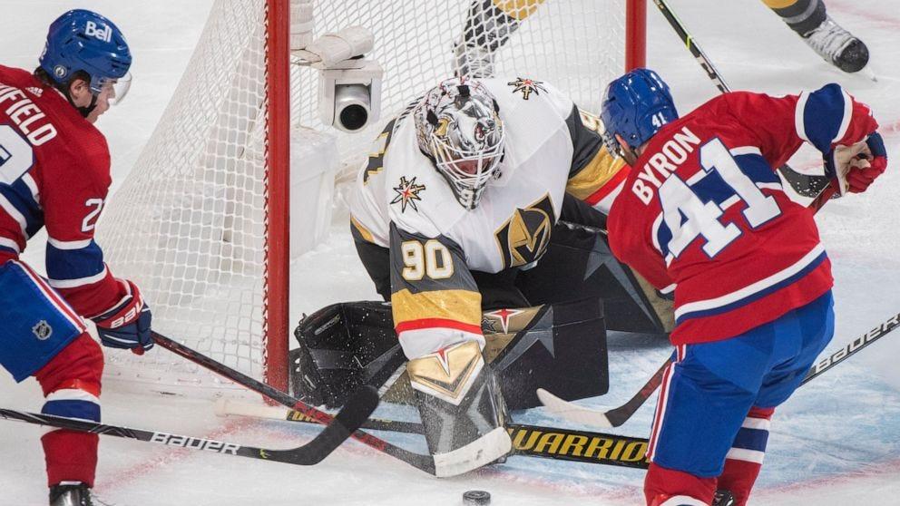 Roy scores 1:18 into OT, Vegas-Montreal series tied 2-2 - ABC News