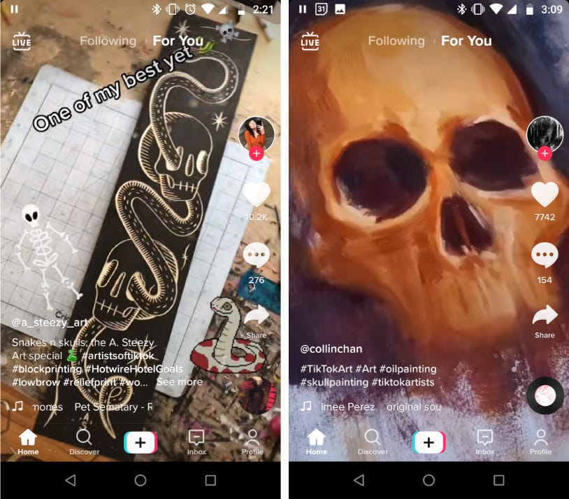 Two TikTok screenshots side-by-side: On the left a block print of skulls and snakes, on the right, an oil painting of a skull