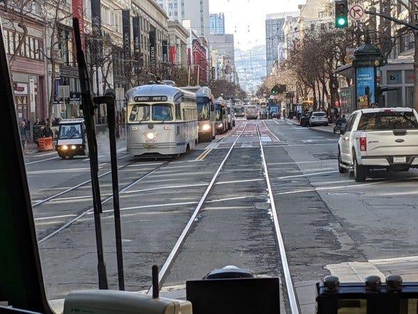 Market Street goes car-free.