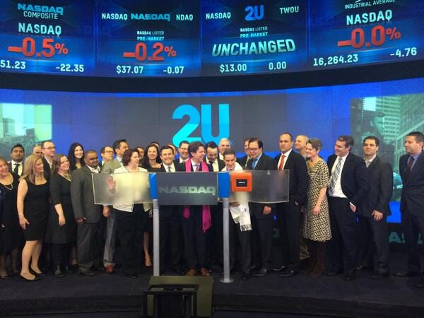 """Nasdaq on Twitter: """"2U Inc rings the #NASDAQ #OpeningBell in celebration of  its #IPO today! #dreamBIG $TWOU @2Uinc #edtech http://t.co/QB8xDPHKhS"""""""