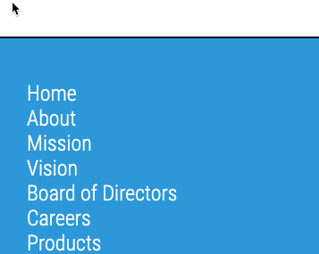 Light blue background with white vertical links. There is no differentiation between the links.
