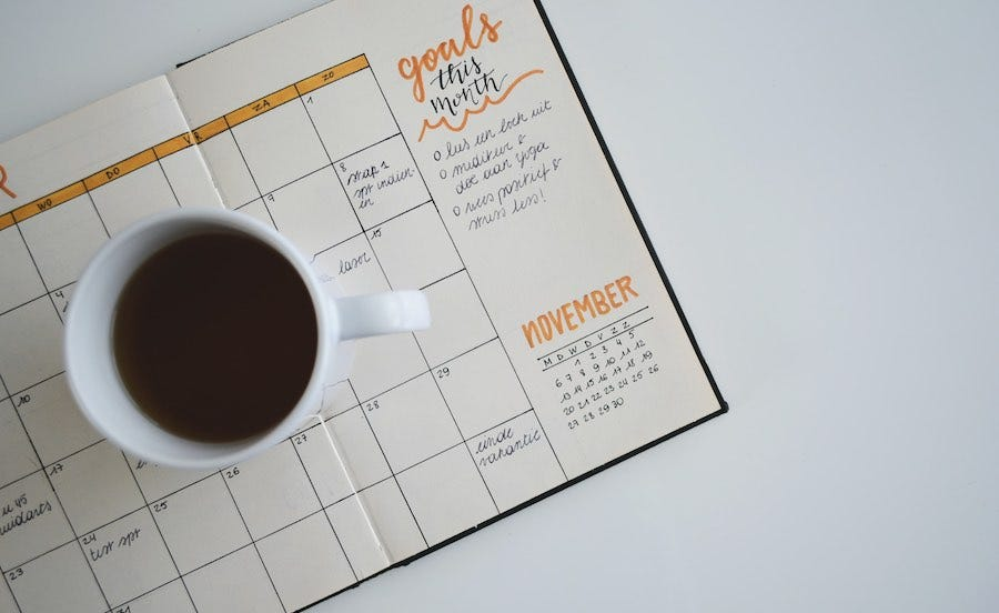Cup of coffee on monthly calendar