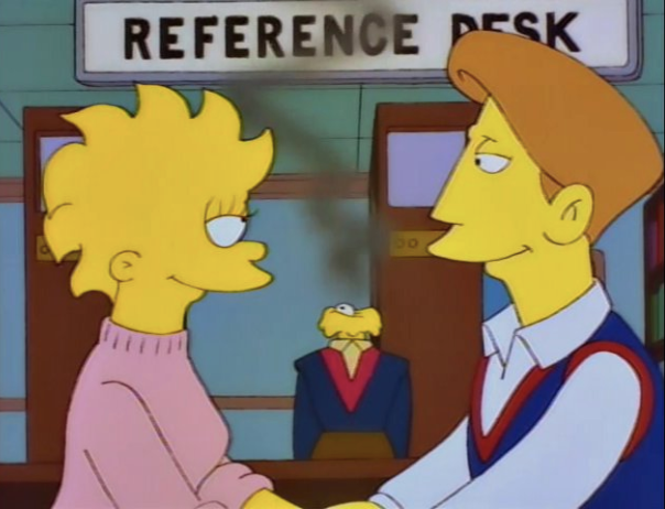 Screenshot of a Simpsons episode highlighting a robot reference librarian who has literally fried their circuits.