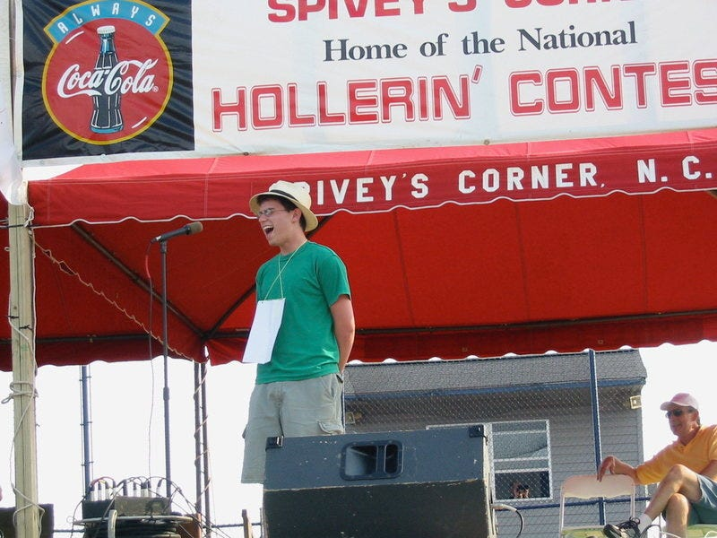 Foer participating in the National Hollerin' Contest in Spivey's Corner, North Carolina.