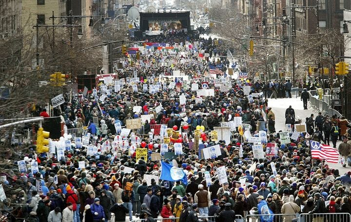 Between 400,000 and 500,000 protesters gathered to oppose the invasion of Iraq inNew York City on Feb. 15, 2003.