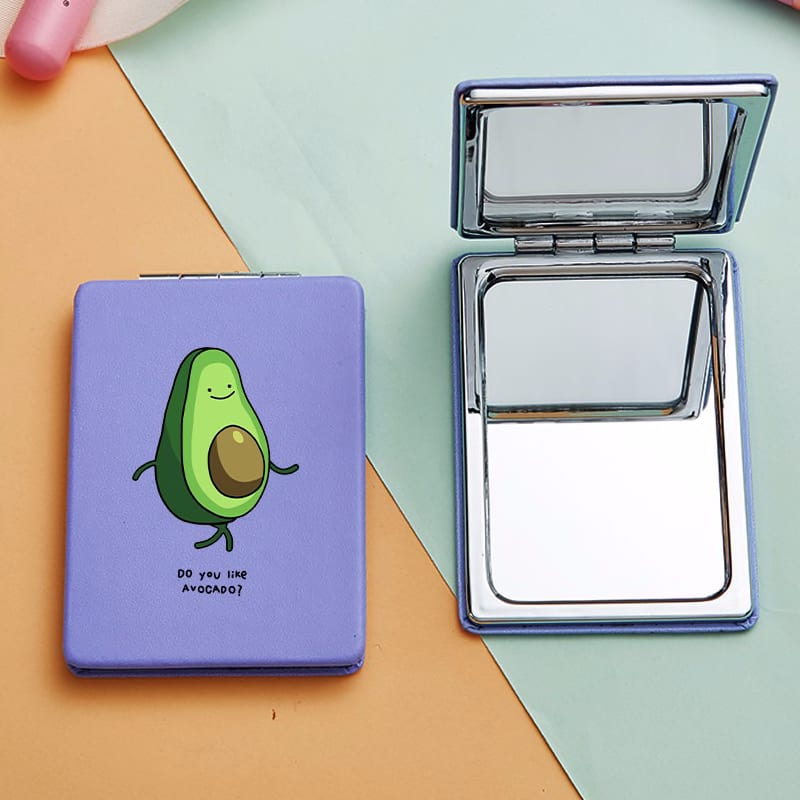 Avocado Printed Luxury Mini Makeup Mirrors with 2 Face for Girl Miroir De Poche Magnifying Cosmetic Pocket Compact Vanity Mirror
