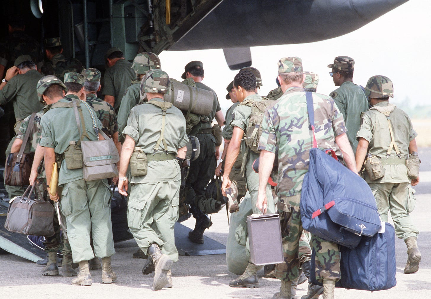 Panamanian and US troops board a cargo plane for transport back to Howard  Air Force Base, Panama, at the conclusion of Exercise KINDLE LIBERTY - U.S.  National Archives Public Domain Image