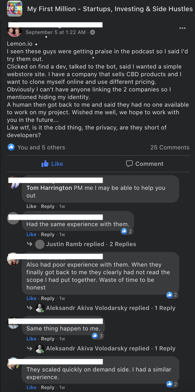 Potential clients discussing lemon.io in a FB group