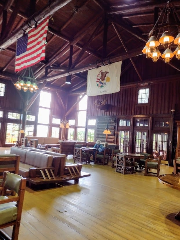 High ceilinged log hall