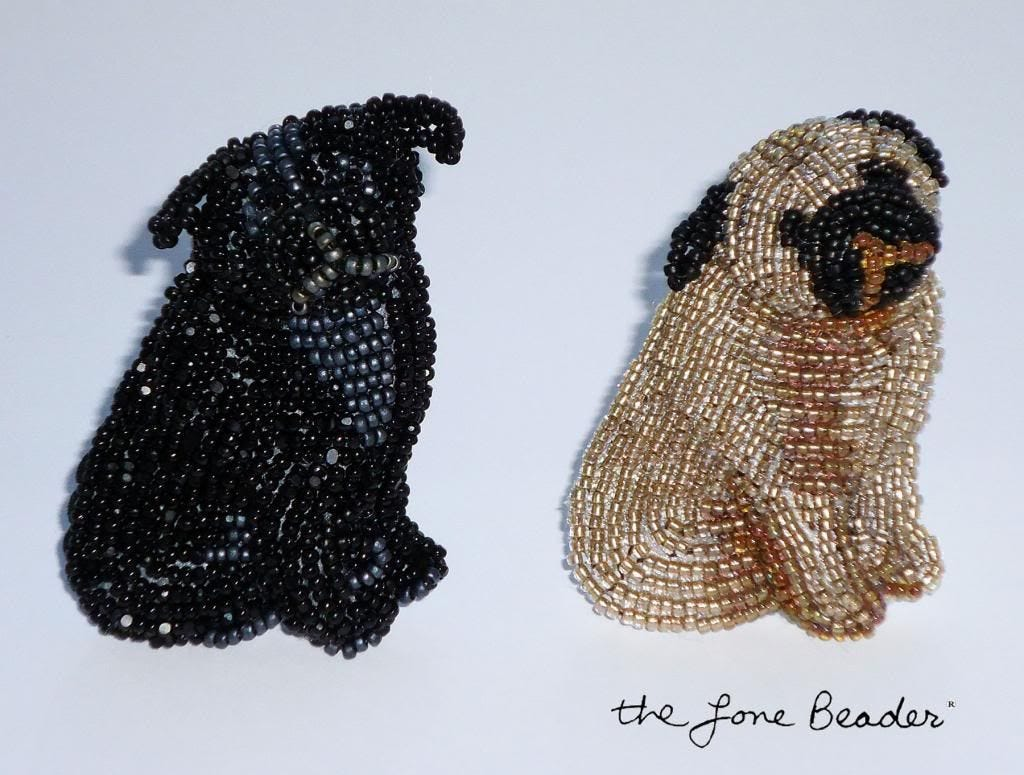 beaded black fawn sitting pug etsy bead embroidery pendant brooch beading akc
