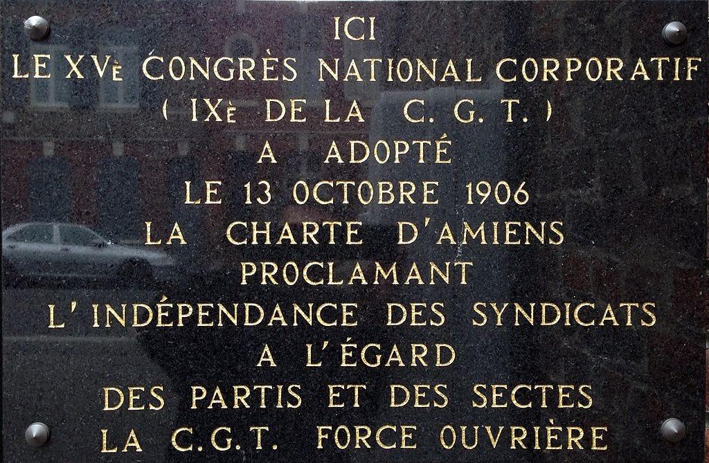 Plaque commémorative de la Charte d'Amiens