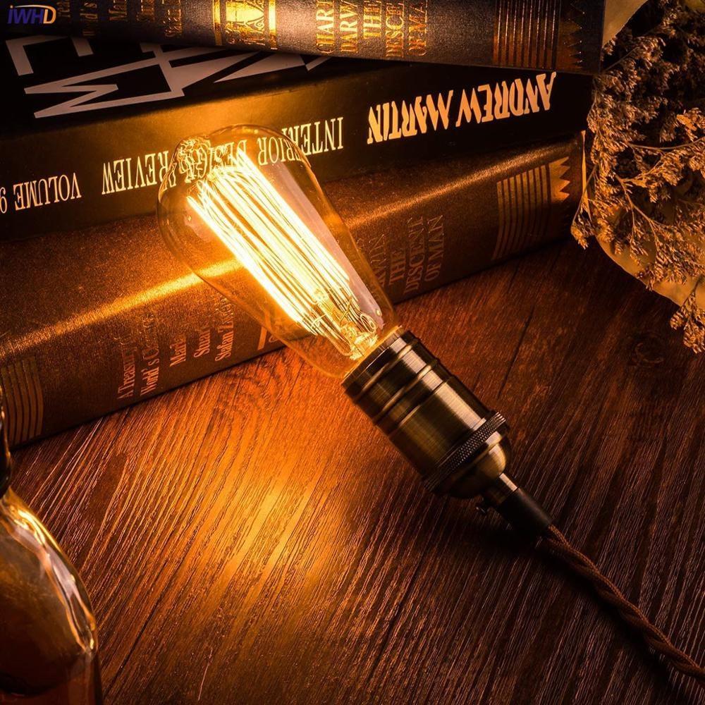 IWHD  A19 ST58 40W Ampul Edison Light Bulb E27 220V Loft Industrial Decor Lampara Retro Vintage Lamp Ampoule Bombilla Gloeilamp