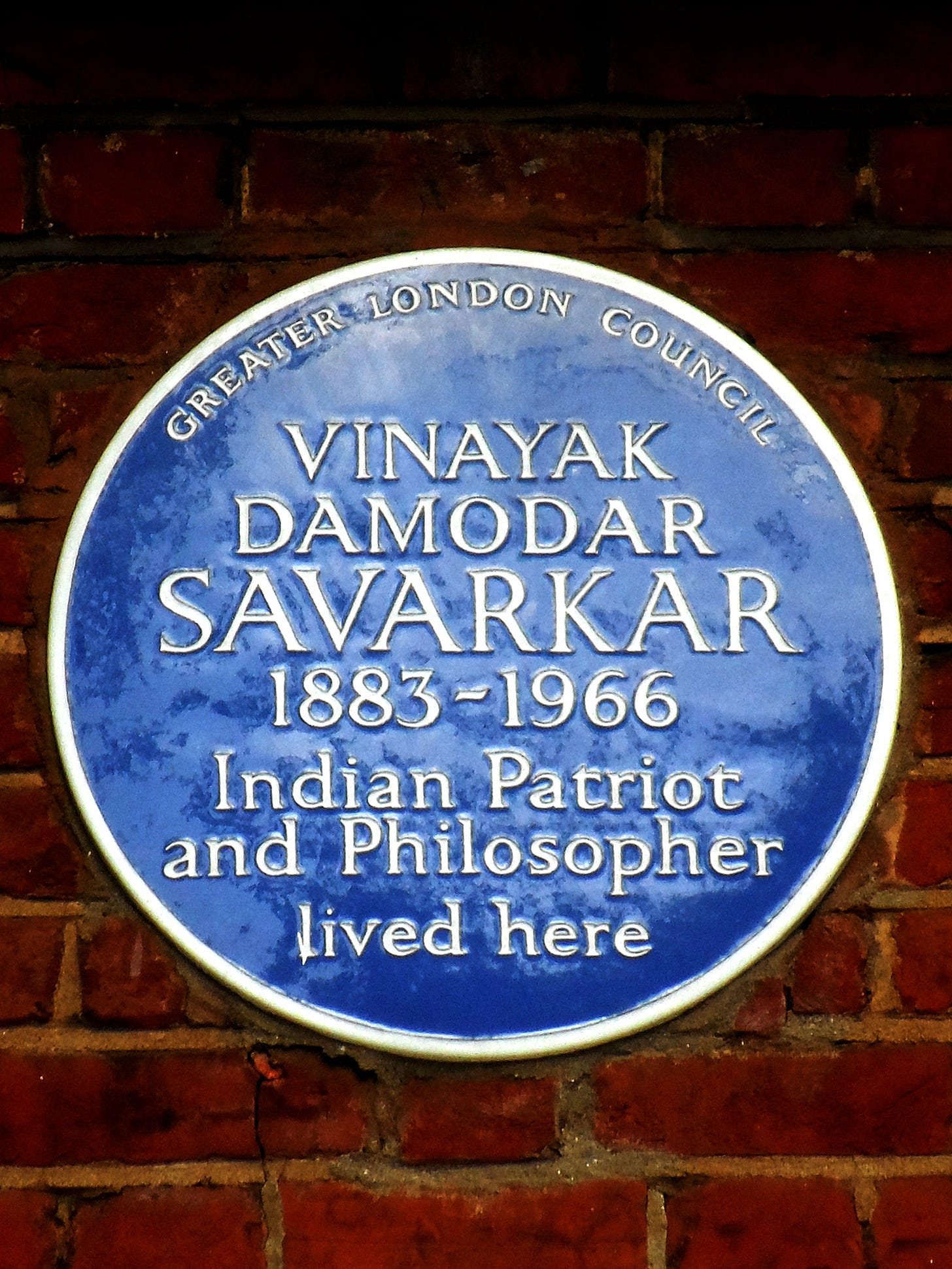 File:VINAYAK DAMODAR SAVARKAR's residence (English Heritage blue plaque).jpg  - Wikimedia Commons