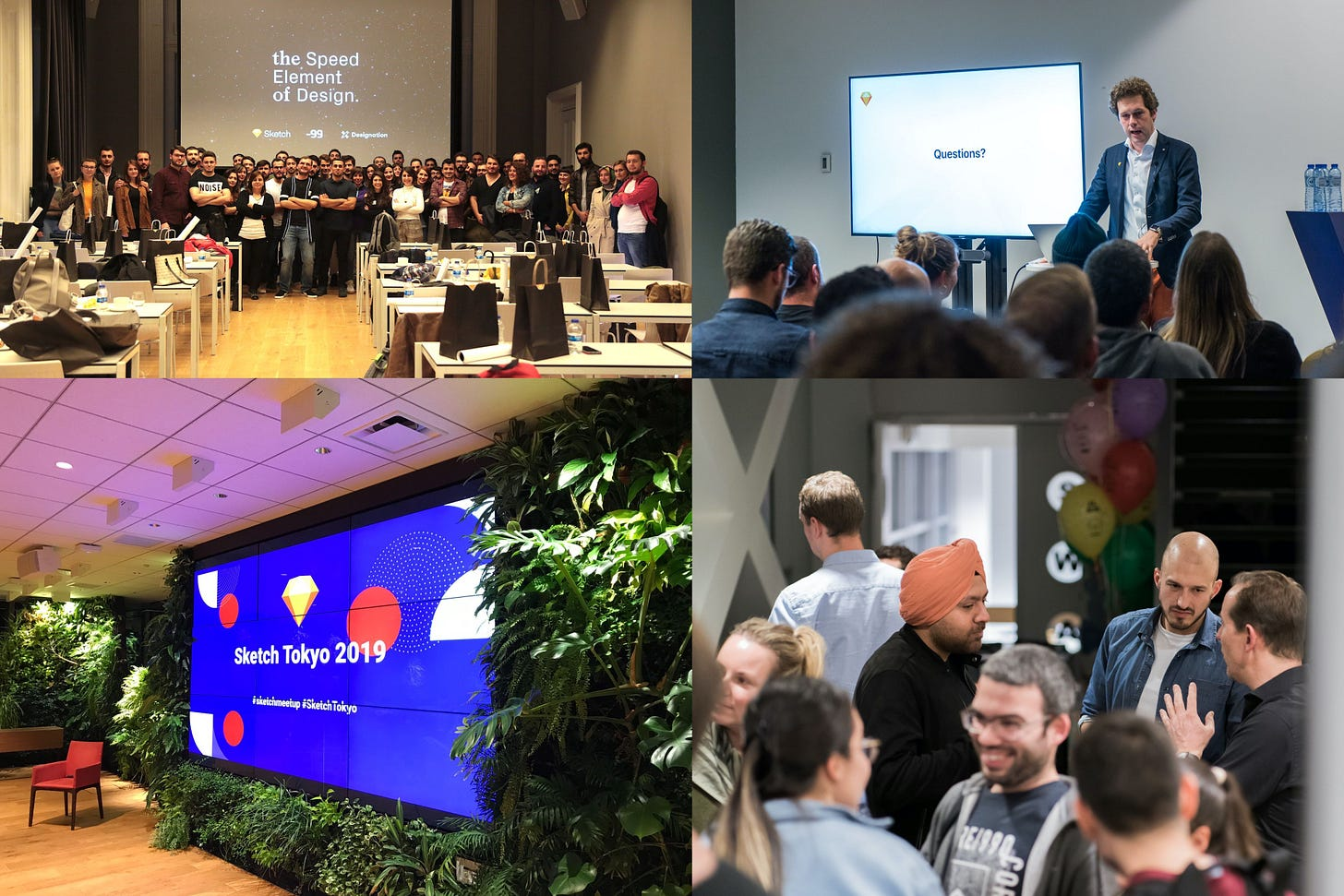 A montage of photos from various Sketch meetups around the world, including a photo of Sketch's co-founder Pieter Omvlee speaking at an event.