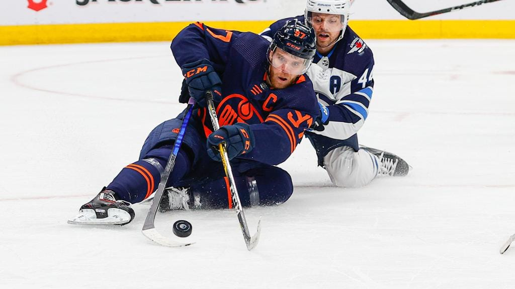 McDavid held without point for Oilers in Game 1 loss against Jets
