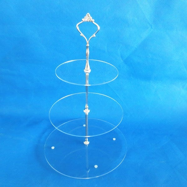 Portable transparent acrylic cake stand 100mm height cake display rack with metal hanger