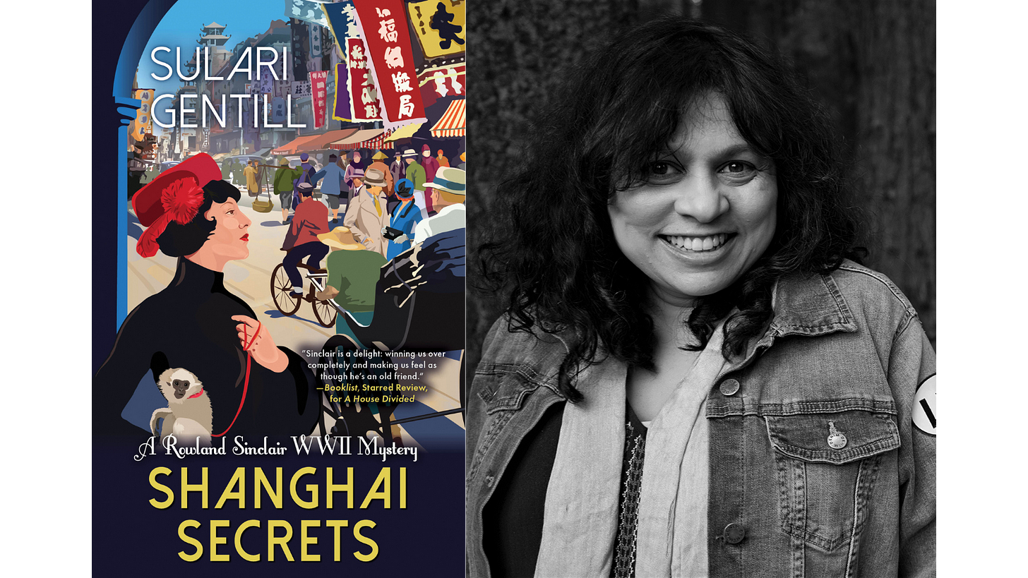 Sulari Gentill and the cover of her new book, Shanghai Secrets