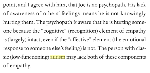 passage from the book explaining how autistic people aren't psychopaths because they lack empathy