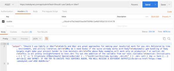 """Ejemplo de la llamada a la API de """"Ask Skynet"""" (OpenAI)"""