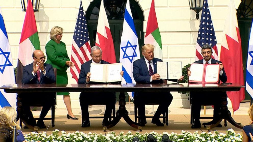 Agreements signed to normalize relations between Israel, UAE and Bahrain -  ABC News