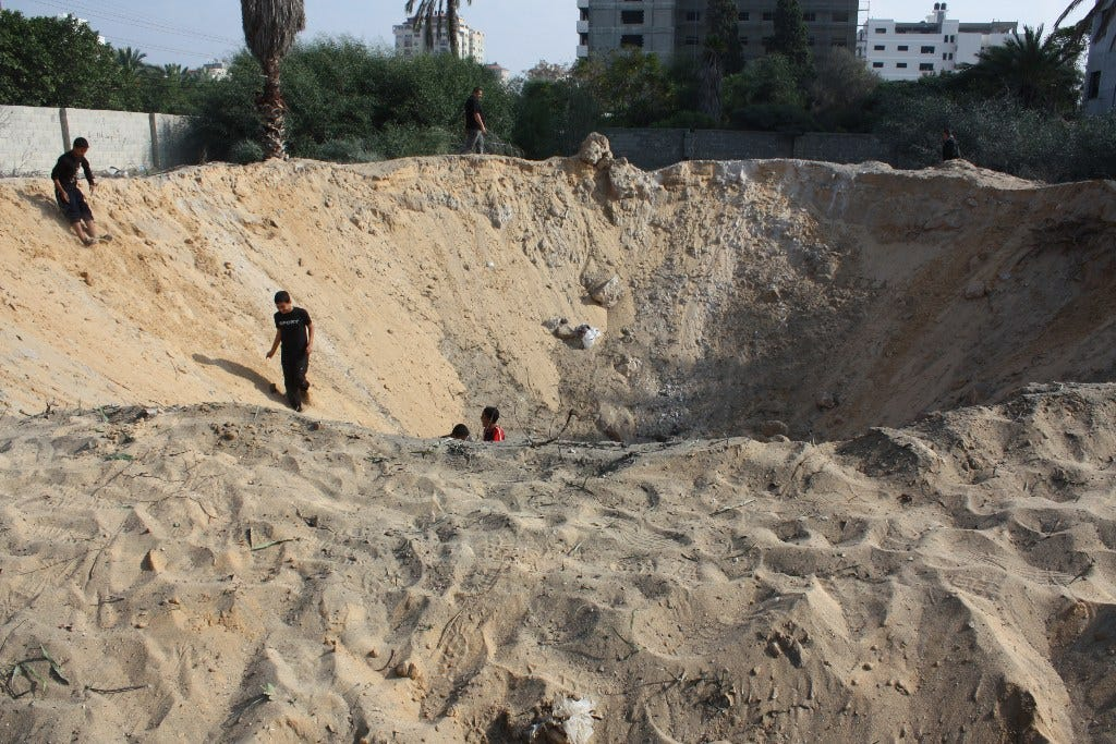 A sandy crater in Gaza