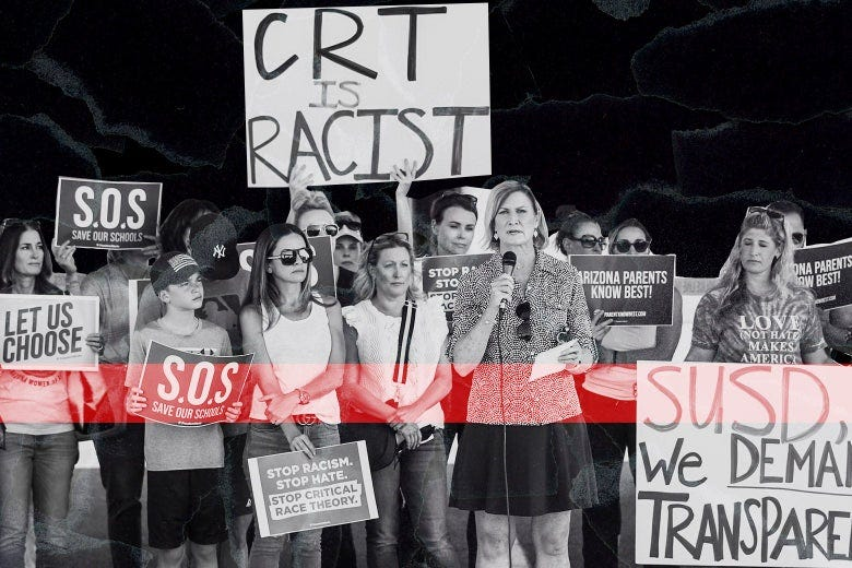 Anti–critical race theory protesters.