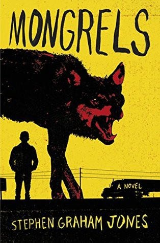 Cover of Mongrels—Image of a black silhouette of a wolf snarling against a yellow background.