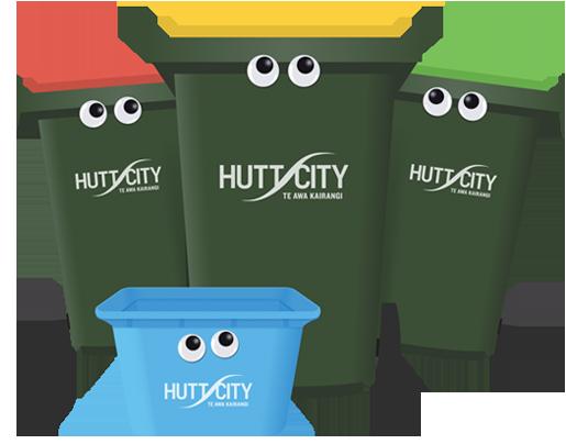 Hutt City's new bins with cute little eyes.