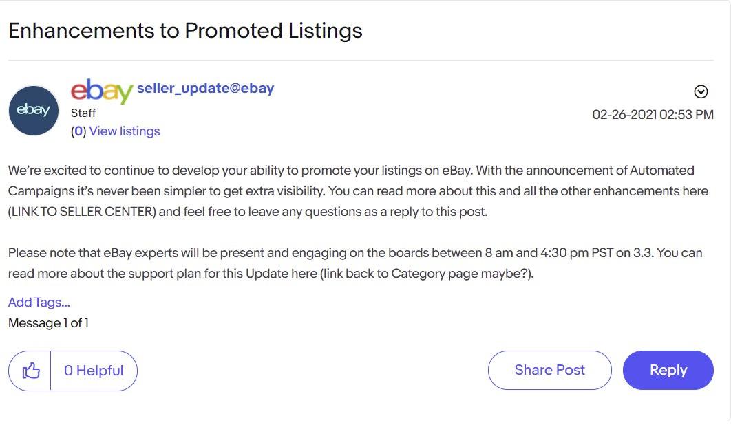 eBay Spring Seller Update Promoted Listings Enhancements