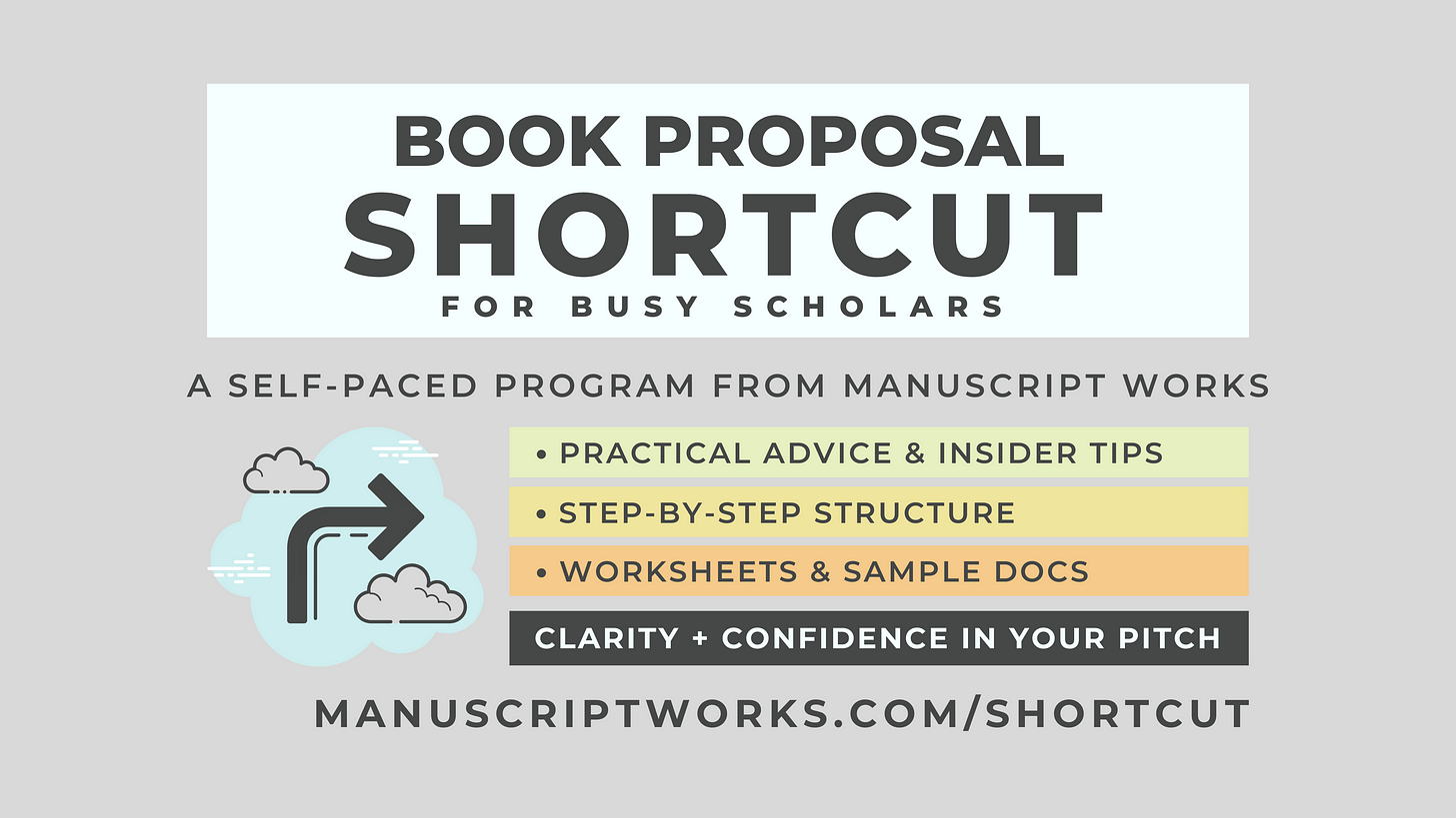 Book Proposal Shortcut for Busy Scholars. A self-paced program from Manuscript Works. Practical advice and insider tips. Step-by-step structure. Worksheets and sample docs. Clarity and confidence in your pitch.