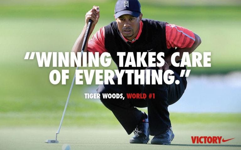 Image result for tiger woods winning takes care of everything nike