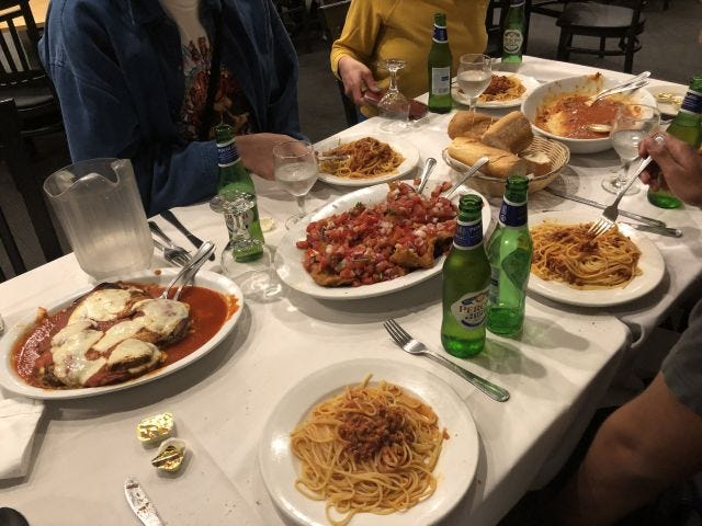 Spaghetti with meat sauce, Veal Don Peppe, eggplant Parm